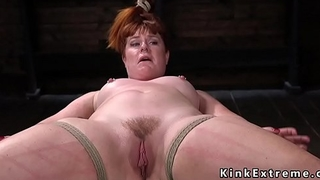 Bbw redhead slave in hogtie gets whipped