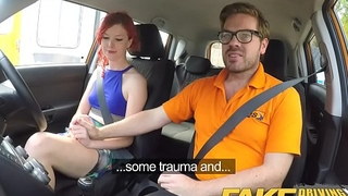 Fake Driving Omnibus Instructor fucks and creampies sexually frustrated redhead