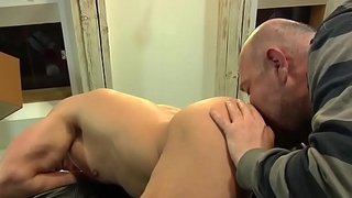 Cockstroking euro stud rimmed at the end of one's tether oldman
