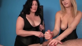 Dominant masseuses ruin clients orgasm
