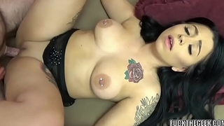 Tattooed cutie Mia Kay takes some dick from an old dude