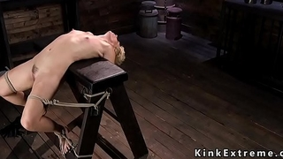 Hogtied flexible Milf gets tormented