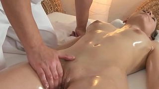 Massage babe rides cock after slow pussyplay