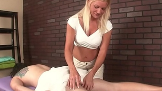 CBT fetish babe controls customers orgasm